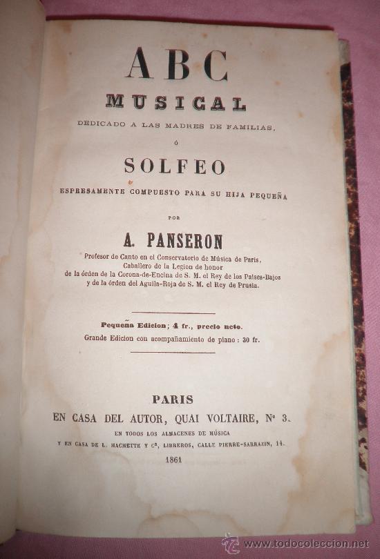 ABC MUSICAL - SOLFEO - A.PANSERON - AÑO 1861 - MUY ILUSTRADO. (Libros Antiguos, Raros y Curiosos - Bellas artes, ocio y coleccion - Música)