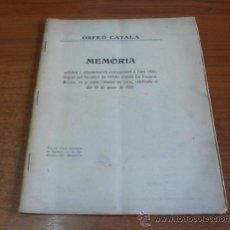 Libros antiguos: ORFEÓ CATALÀ. MEMÒRIA ARTÍSTICA Y ADMINISTRATIVA CORRESPONENT A L'ANY 1920.. Lote 33087238