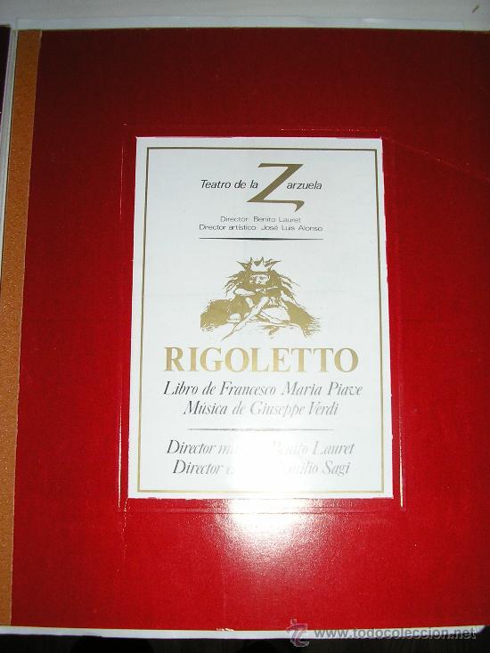 TEATRO DE LA ZARZUELA ----RIGOLETTO-MACBETH-ARMIDE- 3 TOMOS. (Libros Antiguos, Raros y Curiosos - Bellas artes, ocio y coleccion - Música)