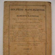 Libros antiguos: SOLFEOS MANUSCRITOS - ALBERTO LAVIGNAC - ENRIQUE LEMOINE.. Lote 41340365