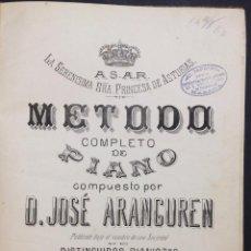 Libros antiguos: METODO COMPLETO DE PIANO. ARANGUREN, JOSÉ. EDIT. A. ROMERO. MADRID, S.A (C.1890).. Lote 43999927