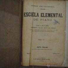 Libros antiguos: ESCUELA ELEMENTAL DE PIANO, DIVIDIDA EN 5 VOLS., VOL 5º, SOCIEDAD DIDÁCTICO MUSICAL, MADRID. Lote 45623810