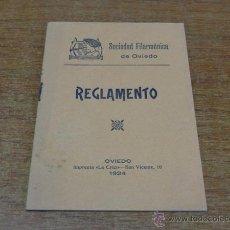 Libros antiguos: SOCIEDAD FILARMONICA DE OVIEDO. REGLAMENTO. 1924.. Lote 46232158