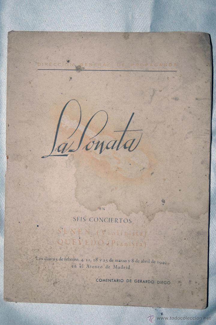 LA SONATA EN 6 CONCIERTOS, ATENEO DE MADRID,COMENTARIO GERARDO DIEGO 1949 (Libros Antiguos, Raros y Curiosos - Bellas artes, ocio y coleccion - Música)