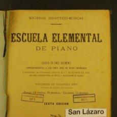 Libros antiguos: ESCUELA ELEMENTAL DE PIANO DIFERENTES EDICIONES CONSERVATORIO DE MUSICA MADRID AÑO 1903 LE608. Lote 52835173