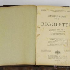 Libros antiguos: 6451- RIGOLETTO. GIUSEPPE VERDI. EDIT. RECORDI. MELODRAMA EN 3 ACTOS. 1917.. Lote 49652365