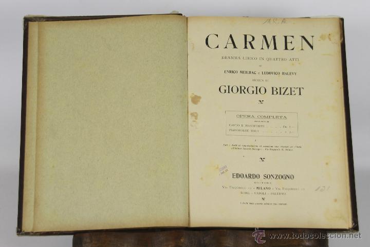 6459- CARMEN. ENRICO MEILHAC. EDIT. EDOARDO SONZOGNO. DRAMA LIRICO EN 4 ACTOS. 1920. (Libros Antiguos, Raros y Curiosos - Bellas artes, ocio y coleccion - Música)