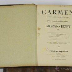 Libros antiguos: 6459- CARMEN. ENRICO MEILHAC. EDIT. EDOARDO SONZOGNO. DRAMA LIRICO EN 4 ACTOS. 1920.. Lote 49653066