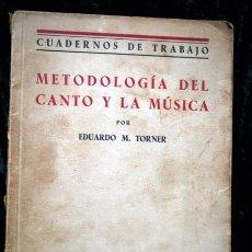 Libros antiguos: METODOLOGIA DEL CANTO Y LA MUSICA - EDUARDO M. TORNER - 1935. Lote 61305951