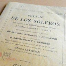 Libros antiguos: SOLFEO DE LOS SOLFEOS VOLUMEN 1 - ENRIQUE LEMOINE Y G. CARULLI. Lote 76909019