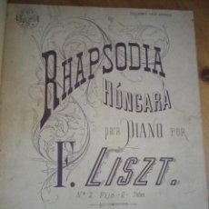 Libros antiguos: MUSICA PARA PIANO RHAPSODIA HUNGARA PATA PIANO F. LISZT VALSE AUG. DURAND SCHERZO T. POWER. Lote 79059493