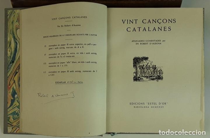 Libros antiguos: VINT CANÇONS CATALANES. EJEMPLAR Nº 29. ROBERT D'AUSONA. EDICIONES ESTEL D'OR. 1935. - Foto 3 - 92340660