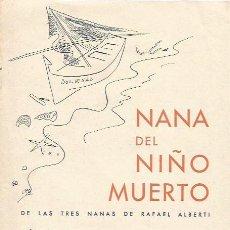 Libros antiguos: NANA DEL NIÑO MUERTO RAFAEL ALBERTI MÚSICA DE SALVADOR BACARISSE PRIMERA EDICIÓN 1938. Lote 94151650