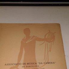 Livres anciens: ASSOCIACIÓ DE MÚSICA DA CAMERA DE BARCELONA. ELISABETH SCHUMANN SOPRAN.KARL ALWIN P.1929 BARCELONA. . Lote 94777499