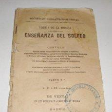 Libros antiguos: TEORÍA DE LA MÚSICA APLICABLE A LA ENSEÑANZA DEL SOLFEO. PARTE 3ª. 1,30 PESETAS.. Lote 97245511