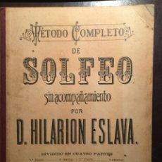 Libros antiguos: MÉTODO COMPLETO SOLFEO . HILARIÓN ESLAVA. NUEVA EDICIÓN. 1 PARTE. Lote 100169240
