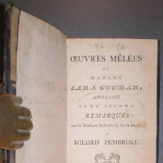 Libros antiguos: GOUDAR, SARA: REMARQUES SUR LA MUSIQUE ITALIENNE ET SUR LA DANSE. OEUVRES TOME SECOND. 1777. Lote 101072399