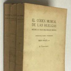 Libros antiguos: EL CÒDEX MUSICAL DE LAS HUELGAS (MÚSICA A VEUS DELS SEGLES XIII-XIV). - ANGLÈS, HIGINI.. Lote 114154548