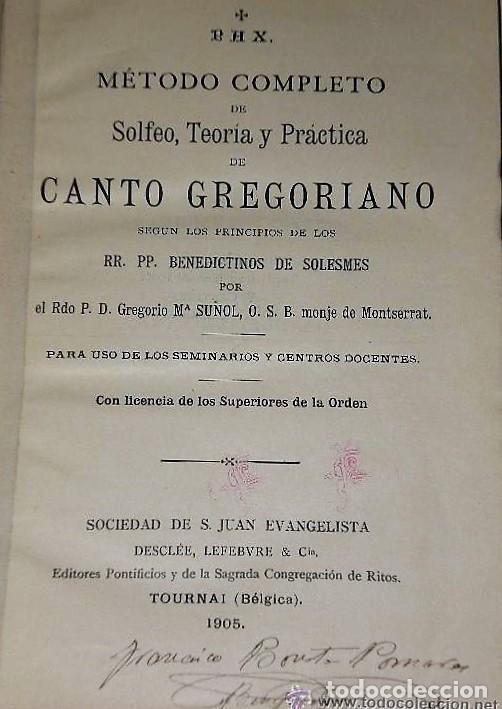 Libros antiguos: TRATADO DE CANTO GREGORIANO(1905) + TEORÍA MUSICAL EN PREGUNTAS Y RESPUESTAS. - Foto 2 - 124685203