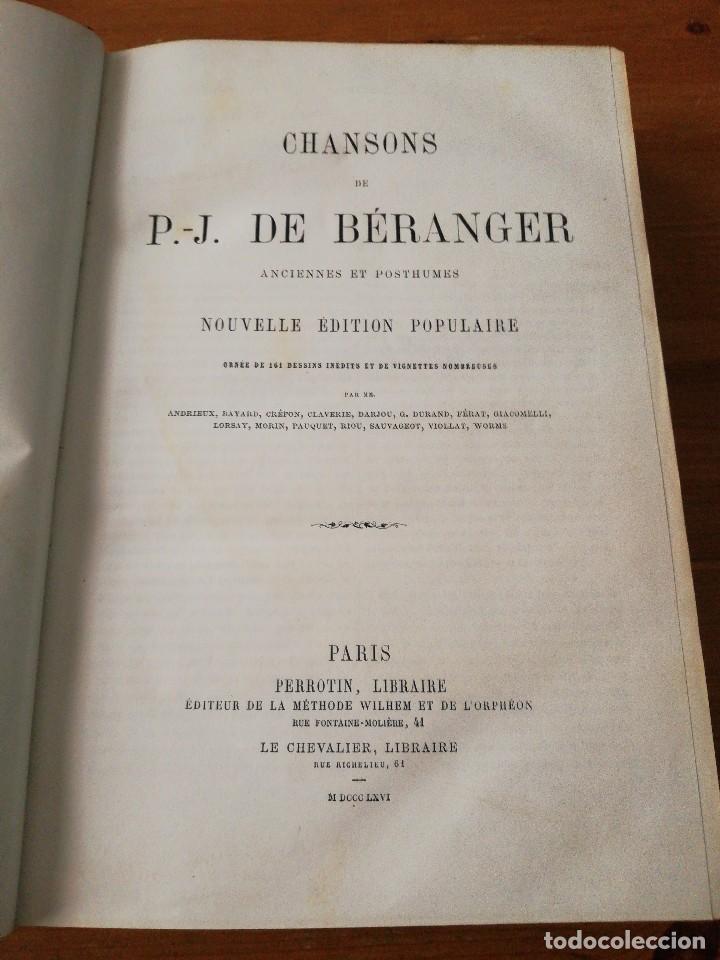 CHANSONS. P-J DE BERANGER. 1866. (Libros Antiguos, Raros y Curiosos - Bellas artes, ocio y coleccion - Música)
