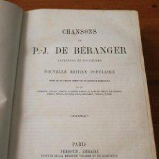Libros antiguos: CHANSONS. P-J DE BERANGER. 1866.. Lote 125262539
