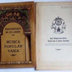 Libros antiguos: MÚSICA POPULAR VASCA. CONFERENCIAS +HIMNO PARA EL JUEVES SACERDOTAL RESURRECCIÓN MARÍA DE AZKUE BI. Lote 125920455