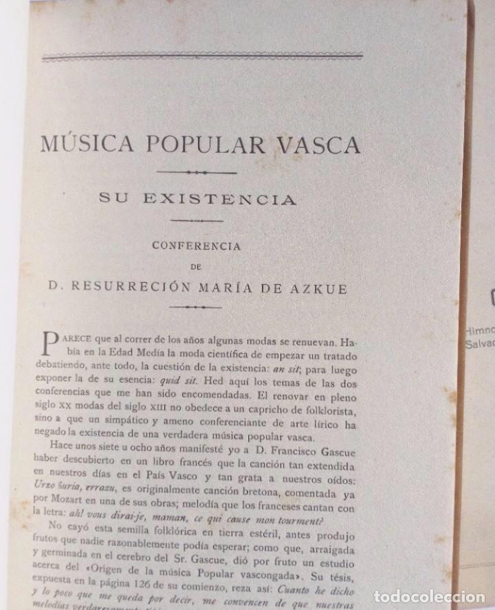 Libros antiguos: MÚSICA POPULAR VASCA. CONFERENCIAS +HIMNO PARA EL JUEVES SACERDOTAL RESURRECCIÓN MARÍA DE AZKUE BI - Foto 3 - 125920455