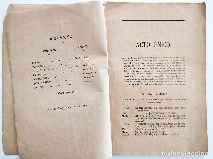 Libros antiguos: LAS CAMPANADAS, ZARZUELA CÓMICA - CARLOS ARNICHES Y GONZALO CANTÓ - MÚSICA CHAPÍ - AÑO 1892 - Foto 4 - 126469423