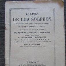 Libros antiguos: SOLFEO DE LOS SOLFEOS - VOLUMEN 1A - ENRIQUE LEMOINE - 1910. Lote 152315630
