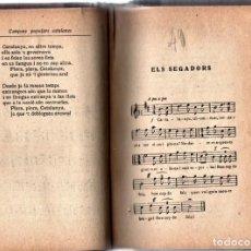 Libros antiguos: ANTIGUO LIBRO CANÇONS POPULARS,CATALUÑA,AÑO 1914,EN CATALAN,MUCHOS TEMAS MUSICA,ELS SEGADORS.... Lote 157747046