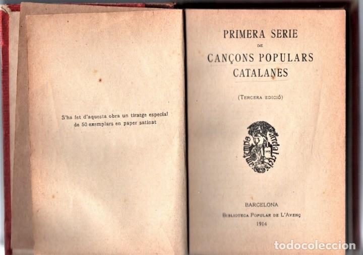Libros antiguos: ANTIGUO LIBRO CANÇONS POPULARS,CATALUÑA,AÑO 1914,EN CATALAN,MUCHOS TEMAS MUSICA,ELS SEGADORS... - Foto 3 - 157747046