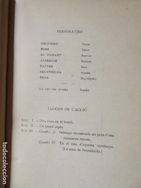 Libros antiguos: PR-118. RICART WAGNER. SIEGFRIED. 2ª JORNADA DE L'ANELL DEL NIBELUNG. 1904. ASSOCIACIÓ WAGNERIANA - Foto 4 - 165569264