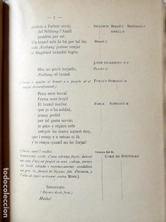 Libros antiguos: PR-118. RICART WAGNER. SIEGFRIED. 2ª JORNADA DE L'ANELL DEL NIBELUNG. 1904. ASSOCIACIÓ WAGNERIANA - Foto 5 - 165569264