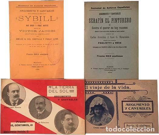 4 ARGUMENTOS Y CANTABLES (ZARZUELAS, OPERETAS) 1911-1915. (VER INDICE) (Libros Antiguos, Raros y Curiosos - Bellas artes, ocio y coleccion - Música)