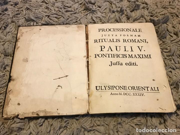 GREGORIANO. LISBOA. 1734. PROCESSIONALE JUXTA FORMAM RITUALIS ROAMNI, PAULI V. PONTIFICIS MAXIMI (Libros Antiguos, Raros y Curiosos - Bellas artes, ocio y coleccion - Música)