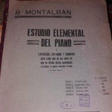 Libros antiguos: ESTUDIO ELEMENTAL DEL PIANO EJERCICIOS ESTUDIOS Y SONATAS 91 PÁGINAS.. Lote 166467642
