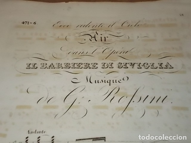 Libros antiguos: INCREÍBLE PARTITURA GRABADA EN PAPEL VERJURADO SIGLO XVIII DEL BARBERO DE SEVILLA. ROSSINI. - Foto 2 - 170343904