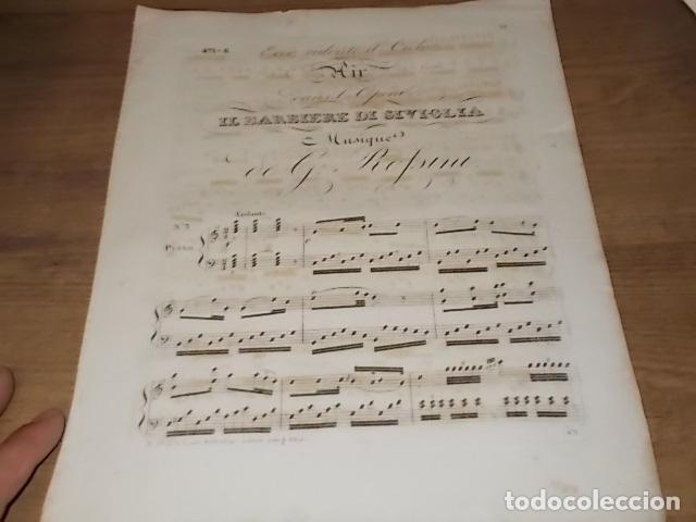 INCREÍBLE PARTITURA GRABADA EN PAPEL VERJURADO SIGLO XVIII DEL BARBERO DE SEVILLA. ROSSINI. (Libros Antiguos, Raros y Curiosos - Bellas artes, ocio y coleccion - Música)