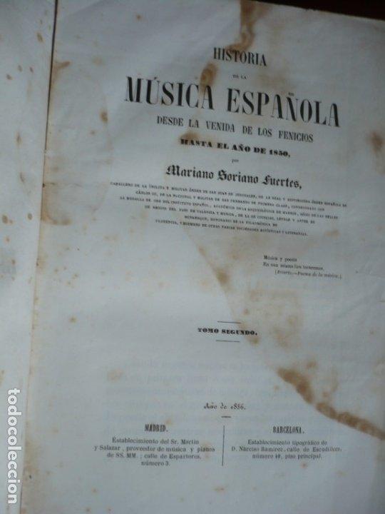 Libros antiguos: 2/ 4 TOMOS HISTORIA DE LA MUSICA ESPAÑOLA DESDE LOS FENICIOS HASTA 1850 MARIANO SORIANO 1856 MADRID - Foto 2 - 172576063