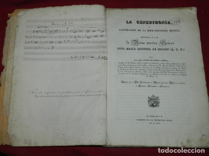 (MF) JOSEF JOAQUIN DE VIRUÉS - LA GENEUPHONIA O GENERACION DE LA BIEN-SONANCIA MÚSICA 1831 (Libros Antiguos, Raros y Curiosos - Bellas artes, ocio y coleccion - Música)