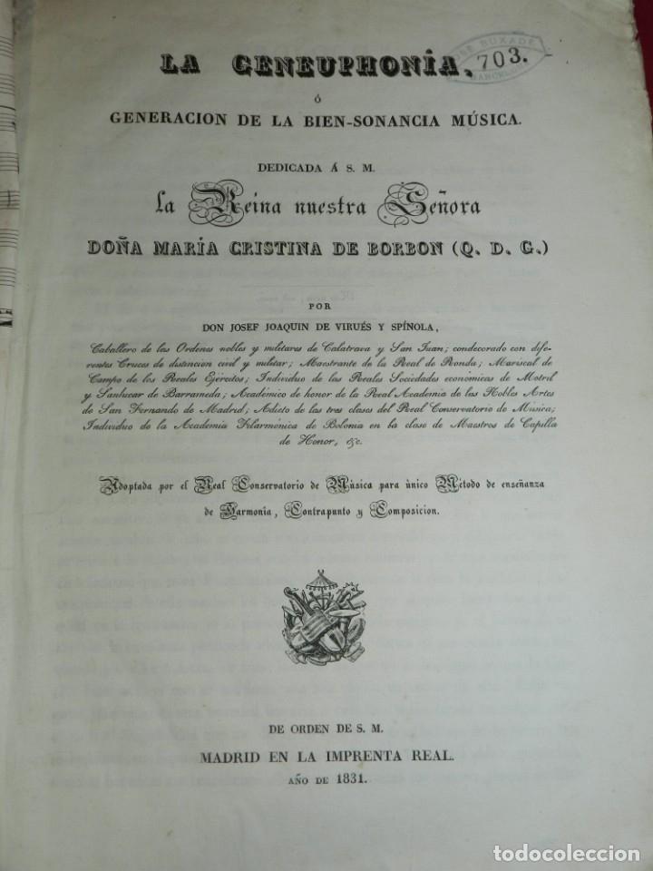 Libros antiguos: (MF) Josef Joaquin de Virués - La Geneuphonia o generacion de la bien-sonancia Música 1831 - Foto 2 - 172769804