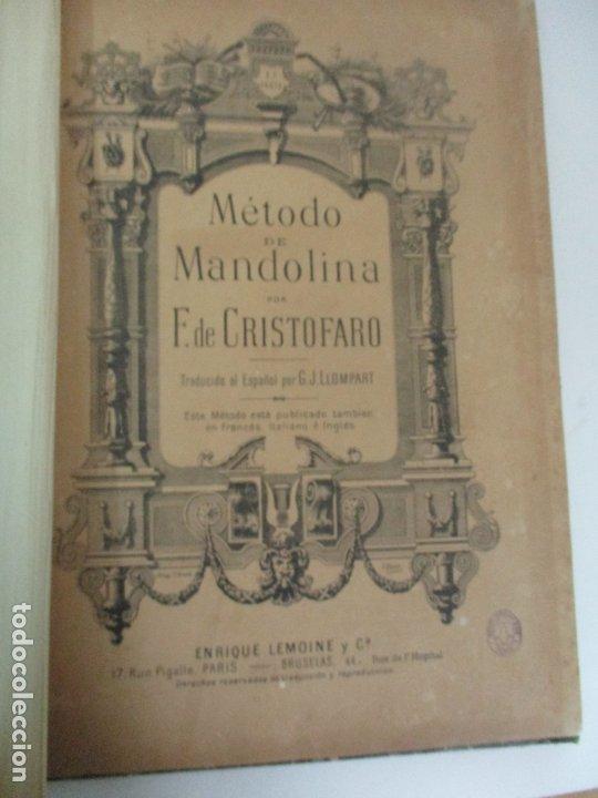 Libros antiguos: MÉTODO DE MANDOLINA - Por F. de Cristofaro - Ed. Enrique Lemoine y Cª - Con ilustraciones a b/n - Foto 4 - 174118907