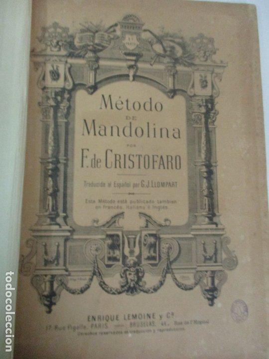 MÉTODO DE MANDOLINA - POR F. DE CRISTOFARO - ED. ENRIQUE LEMOINE Y Cª - CON ILUSTRACIONES A B/N (Libros Antiguos, Raros y Curiosos - Bellas artes, ocio y coleccion - Música)