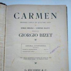 Libros antiguos: ANTIGUO LIBRO DE PARTITURAS DE CARMEN, DE BIZET - OPERA COMPLETA (4 ACTOS) - MÁS DE 100 AÑOS. Lote 175445590