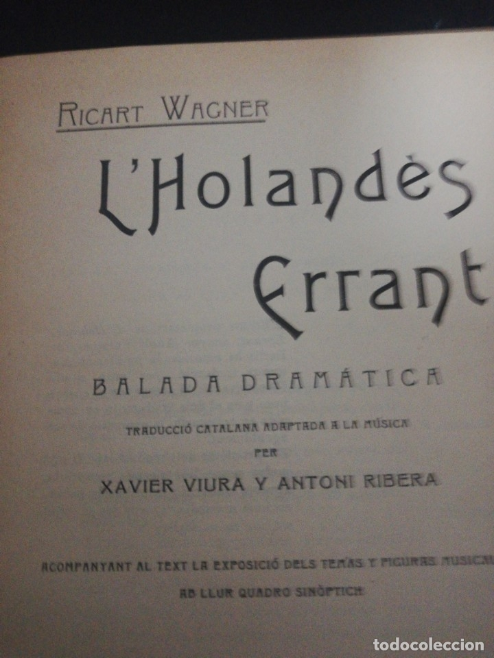 Libros antiguos: Ricart Wagner, lholandes errsnt, 1904 associacio wagneriana Barcelona - Foto 5 - 178912327