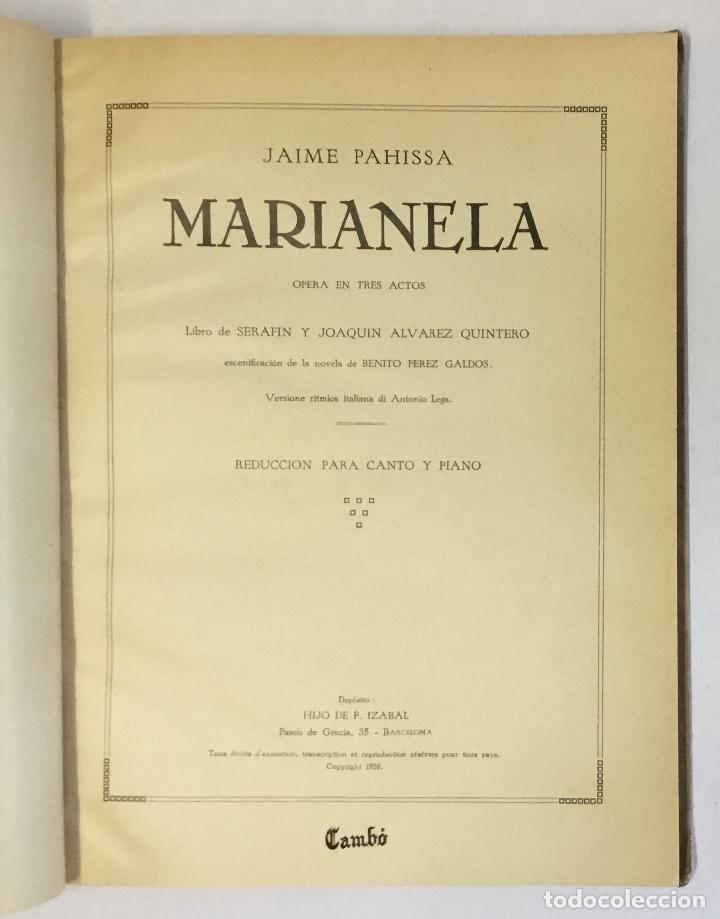 Libros antiguos: MARIANELA. Opera en tres actos. Libro de Serafín y Joaquín Álvarez Quintero. - PAHISSA, Jaime. - Foto 2 - 180959476