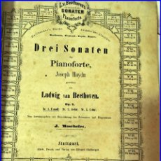 Libros antiguos: AÑO 1858. BEETHOVEN. GRAN VOLUMEN DEL SIGLO XIX CON CIENTOS DE PÁGINAS CON PARTITURAS. 32 X 26 CM..-. Lote 182025855