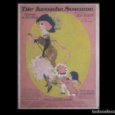 Libros antiguos: 1911 - MÚSICA - OPERETA ALEMANA - PARTITURA - DIE KEUSCHE SUSANNE - J. GILBERT/OKONKOWSKY. Lote 186235233