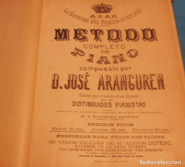 Libros antiguos: METODO COMPLETO DE PIANO , COMPUESTO POR D. JOSE ARANGUREN - Foto 4 - 189517106