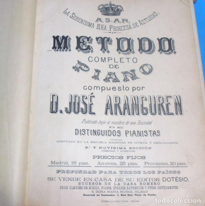 Libros antiguos: METODO COMPLETO DE PIANO , COMPUESTO POR D. JOSE ARANGUREN - Foto 5 - 189517106